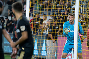 LAFC goalkeeper Tyler Miller (1) directs teammates before a free kick during a MLS soccer game against the Houston Dynamo, Saturday, Sept 25, 2019, in Los Angeles. LAFC wins 3-1. (Jon Endow/Image of Sport)