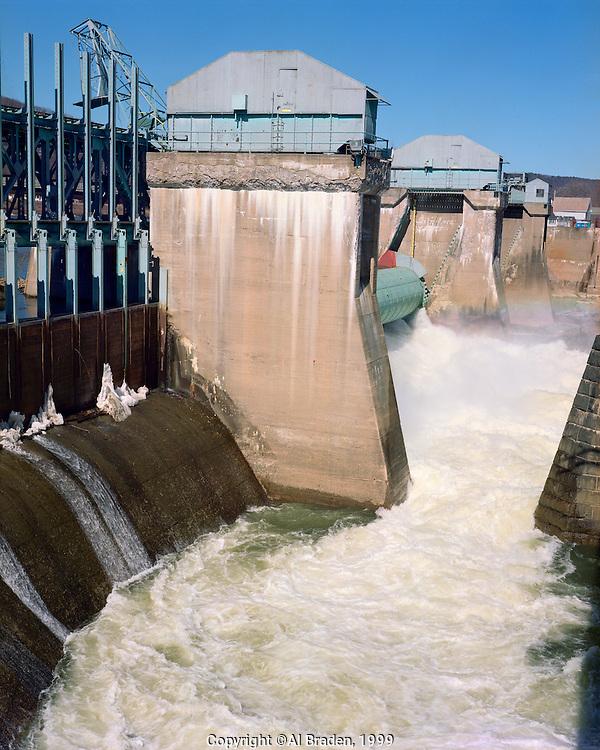 Connecticut River spring freshet at  Bellows Falls Dam, Bellows Falls, VT
