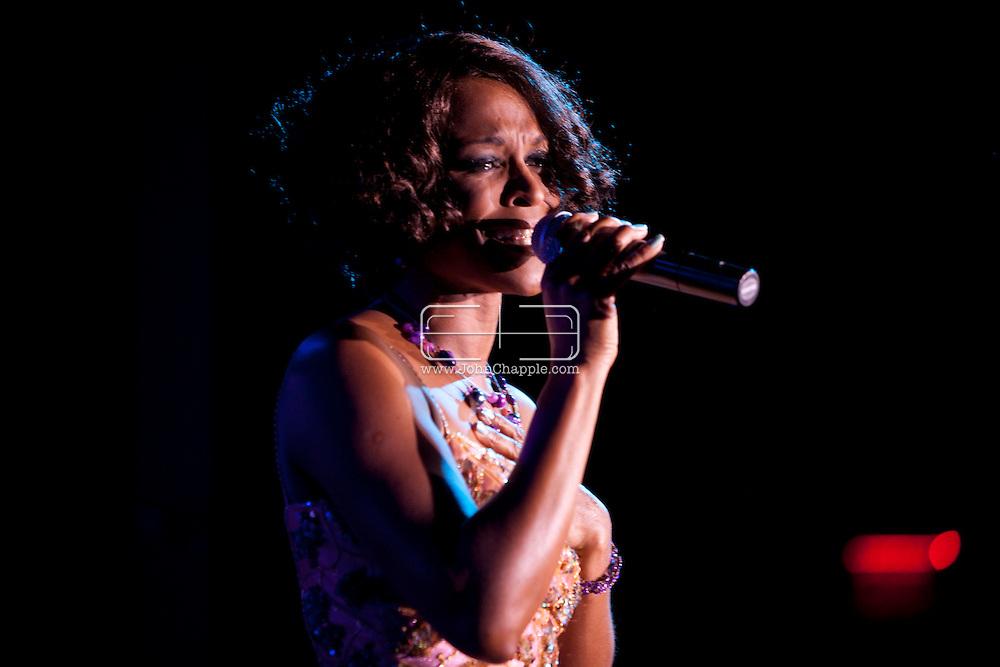 February 20th, 2012, Las Vegas, Nevada. The 21st Annual Reel Awards in Las Vegas where celebrity lookalikes show off their talents. Pictured is Trina Johnson Finn as Whitney Houston..PHOTO © JOHN CHAPPLE / www.johnchapple.com.