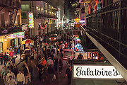 Bourbon Street in the French Quarter at night