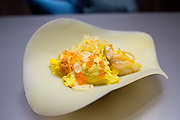 A dish containing monochromatic Dungenesse crab, spaghetti squash, curry and coconut at Alinea, an upscale restaurant which underwent a total gut renovation in the Lincoln Park neighborhood of Chicago, Ill., on Thursday, April 28, 2016. Nathan Weber for the New York Times
