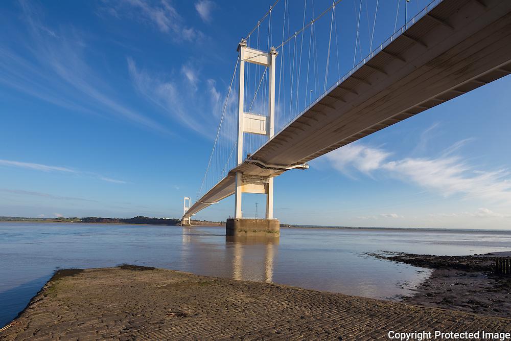 Severn Suspension Bridge  connecting England and Wales. Built 1966. Engineer: Gilbert Roberts, Freeman Fox & Partners