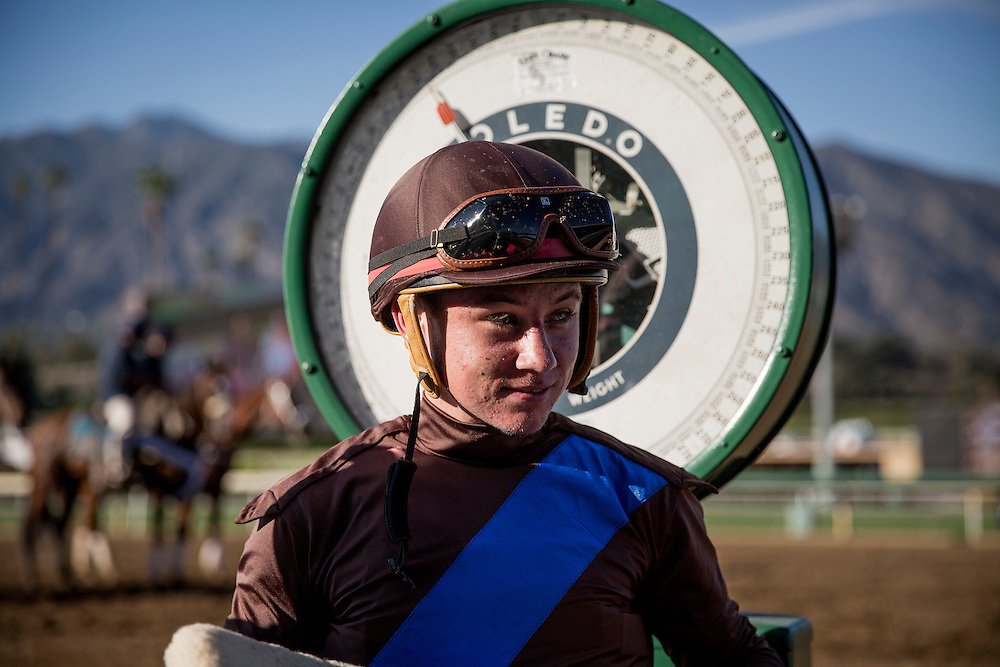 September 26 2015: Jockey, Drayden Van Dyke weighs out after winning the Rodeo Drive Stakes at Santa Anita Park, Arcadia CA. Alex Evers/ESW/CSM