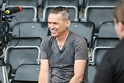 Forest Green Rovers Chairman Dale Vince being interviewed during the Pre-Season Friendly match between Forest Green Rovers and Bristol Rovers at the New Lawn, Forest Green, United Kingdom on 22 July 2017. Photo by Shane Healey.