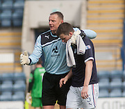 Robert Douglas hugs Craig McKeown who was playing his last game for Dundee - Dundee v Livingston, Irn Bru Scottish Football League First Division at Dens Park