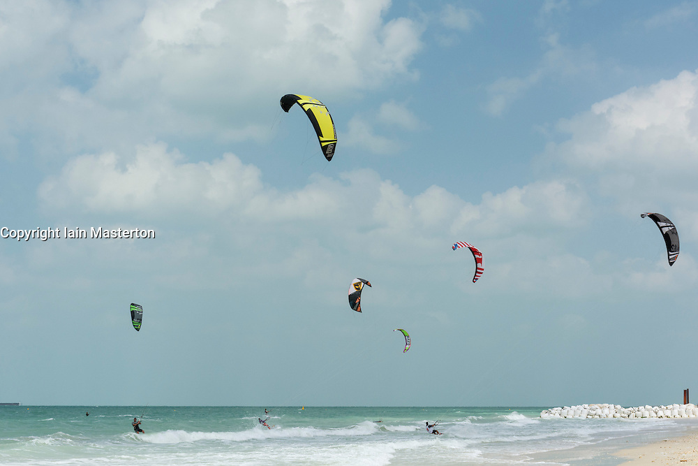 Kite surfing at Kite Beach in Dubai United Arab Emirates