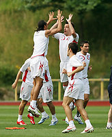 Photo: Chris Ratcliffe.<br />England Training Session. FIFA World Cup 2006. 29/06/2006.<br />Rio Ferdinand and John Terry in training.