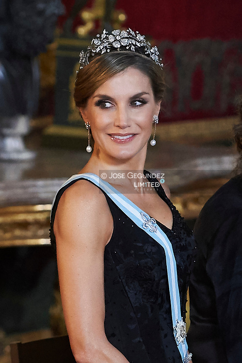 Queen Letizia of Spain attended a Gala dinner at the Royal Palace on November 6, 2017 in Madrid, Spain