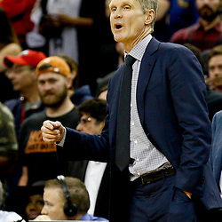 Dec 13, 2016; New Orleans, LA, USA;  Golden State Warriors head coach Steve Kerr against the New Orleans Pelicans during the second half of a game at the Smoothie King Center. The Warriors defeated the Pelicans 113-109. Mandatory Credit: Derick E. Hingle-USA TODAY Sports