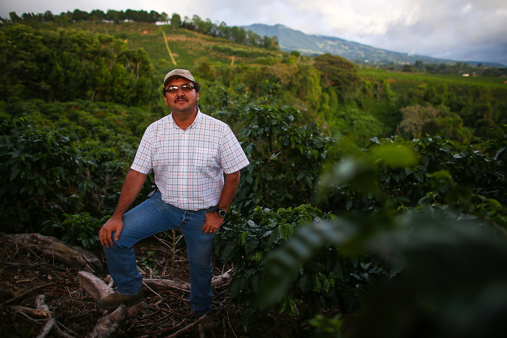 Hacienda Alsacia farm manager Victor Trejos looks over the farm during the 2016 Starbucks Origin Experience for Partners. Photographed in January 2016. (Joshua Trujillo, Starbucks)<br /> <br /> ***model released***