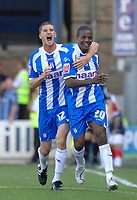 Photo: Ashley Pickering.<br /> Colchester United v Charlton Athletic. Coca Cola Championship. 15/09/2007.<br /> Kevin Lisbie (no. 20) celebrates scoring Colchester's second goal with teamate Pat Baldwin