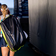 August 22, 2016, New Haven, Connecticut: <br /> Caroline Wozniacki of Denmark walks off the court after begin defeated by Jelena Ostapenko of Latvia during a match a match on Day 4 of the 2016 Connecticut Open at the Yale University Tennis Center on Monday August  22, 2016 in New Haven, Connecticut. <br /> (Photo by Billie Weiss/Connecticut Open)