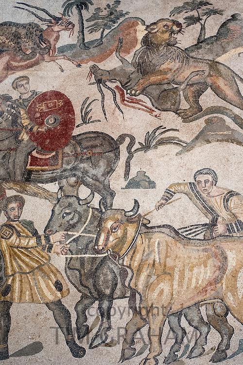 Famous mosaics and mosiac art of hunting scenes at ancient Roman Villa del Casale, Piazza Armerina, Sicily, Italy