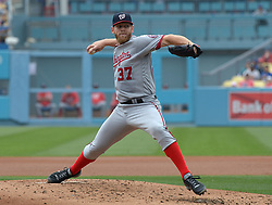 June 7, 2017 - Los Angeles, California, U.S. - Washington Nationals starting pitcher Stephen Strasburg throws to the plate against the Los Angeles Dodgers in the second inning of a Major League baseball game at Dodger Stadium on Wednesday, June 7, 2017 in Los Angeles. (Photo by Keith Birmingham, Pasadena Star-News/SCNG) (Credit Image: © San Gabriel Valley Tribune via ZUMA Wire)