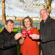 JP McManus, Helen O'Donnell and Paul O'Connell with the new TLC cups at the Hunt Museum, Limerick, ahead of Team Limerick Clean-Up 5, which will see thousands of volunteers take to the streets of Limerick city and county for Europe's largest one-day clean up. Sponsored by the JP McManus Benevolent Fund, the event has seen over 360 tonnes of litter gathered from the streets since inception in 2015. Over 14,000 volunteers have already signed up for the 2019 event, taking place on Good Friday, 19th April. <br /> Photo by Diarmuid Greene