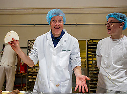 Pictured: Willie Rennie and baker Dylan Hamilton make some steak bridies<br />