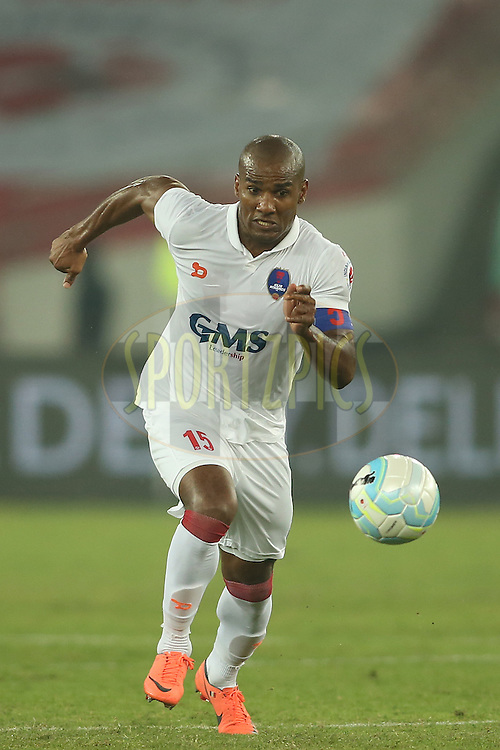 Delhi Dynamos FC captain Florent Johan Malouda during match 17 of the Indian Super League (ISL) season 3 between Delhi Dynamos FC and Mumbai City FC held at the Jawaharlal Nehru Stadium in Delhi, India on the 18th October 2016.<br /> <br /> Photo by Shaun Roy / ISL / SPORTZPICS