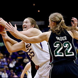 Mar 24, 2013; Baton Rouge, LA, USA; LSU Tigers forward Theresa Plaisance (55) is guarded by Green Bay Phoenix forward Lydia Bauer (22) in the first half of the first round of the 2013 NCAA womens basketball tournament at the Pete Maravich Assembly Center.  Mandatory Credit: Derick E. Hingle-USA TODAY Sports