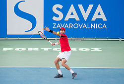 Adrian Menendez-Maceiras (ESP) playing Quarterfinal during Day 7 at ATP Challenger Zavarovalnica Sava Slovenia Open 2018, on August 9, 2018 in Sports centre, Portoroz/Portorose, Slovenia. Photo by Vid Ponikvar / Sportida