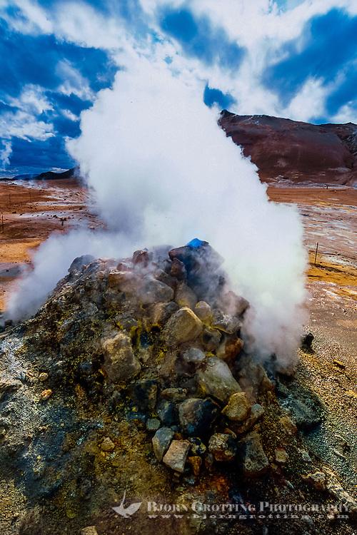 Iceland. Geothermal activity at Namafjall close to Krafla. Fumaroles.