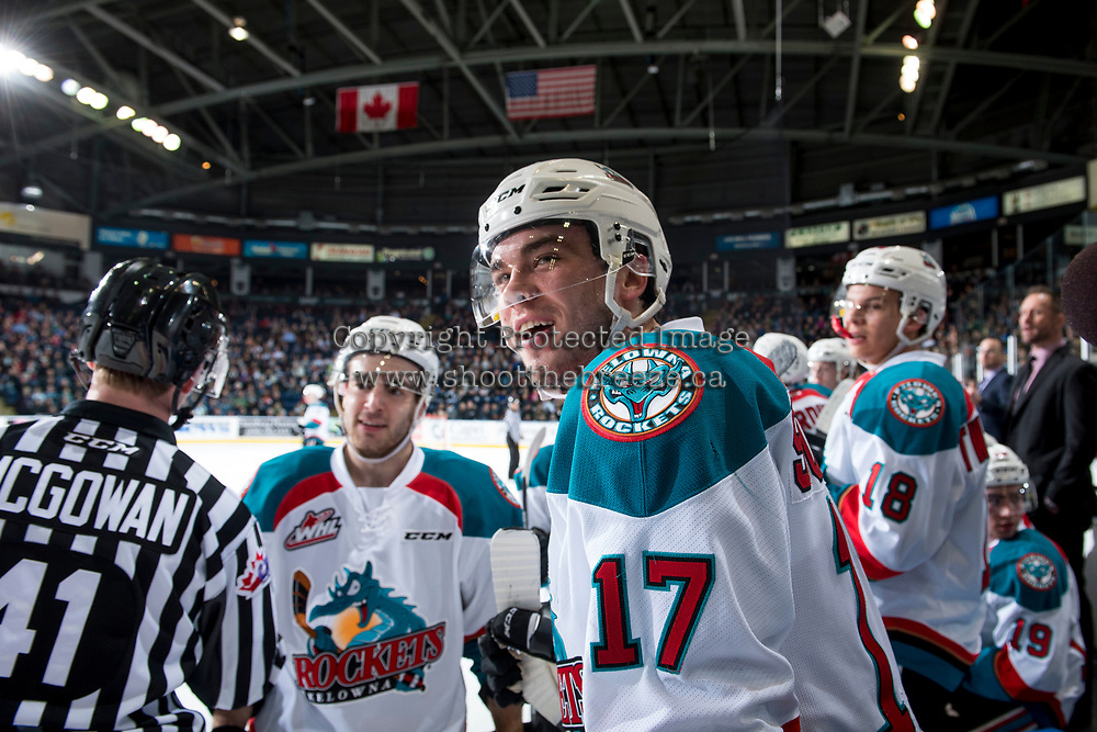 KELOWNA, CANADA - MARCH 25: Rodney Southam #17 of the Kelowna Rockets trash talks the Kamloops Blazers' bench during a time out on March 25, 2017 at Prospera Place in Kelowna, British Columbia, Canada.  (Photo by Marissa Baecker/Shoot the Breeze)  *** Local Caption ***