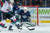 KELOWNA, CANADA - JANUARY 30: Roddy Ross #1 of the Seattle Thunderbirds defends the net against the Kelowna Rockets on January 30, 2019 at Prospera Place in Kelowna, British Columbia, Canada.  (Photo by Marissa Baecker/Shoot the Breeze)