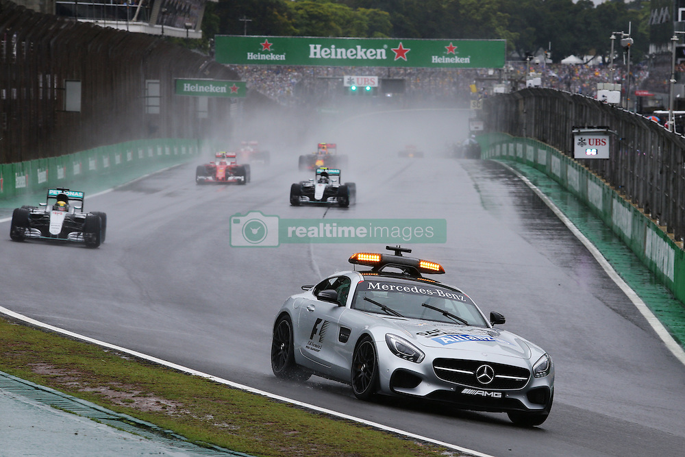 Lewis Hamilton (GBR) Mercedes AMG F1 W07 Hybrid leads behind the FIA Safety Car.<br /> 13.11.2016. Formula 1 World Championship, Rd 20, Brazilian Grand Prix, Sao Paulo, Brazil, Race Day.<br />  <br /> / 131116 / action press