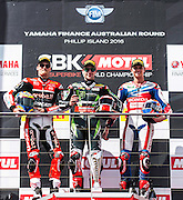 Chaz Davies (GBR) of Aruba.it Racing Ducati riding a Ducati 1199 Panigale R (L), Jonathan Rea (GBR) of Kawasaki Racing Team riding a Kawasaki ZX-10R (C) and Michael van der Mark (NED) of Honda World Superbike Team riding a Honda CBR1000RR SP pose for the winners photo after the first race of the first round of the 2016 Superbike World Championship at Phillip Island, Australia.  - fee liable image; photo copyright © ATP  Theo KARANIKOS<br /> <br /> Superbike Weltmeisterschaft in Phillip Island AUSTRALIEN - Saisonstart  2016 - Motorrad - Motorradrennen - Motorradsport - WSBK -
