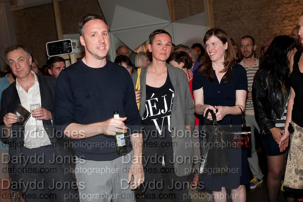 WINNERS; ANJA KIRCHNER; DAVID PANOS,- EJ VI The Jarman award 2011. Whitechapel Gallery. London. 3 October 2011. <br /> <br />  , -DO NOT ARCHIVE-&copy; Copyright Photograph by Dafydd Jones. 248 Clapham Rd. London SW9 0PZ. Tel 0207 820 0771. www.dafjones.com.