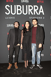 Giacomo Spaconi, Angelica Massera, Claudio Colica at the Red Carpet of the series Suburra 2 at Circolo Degli Illuminati in Rome, Italy, 20 February 2019  (Credit Image: © Lucia Casone/Soevermedia via ZUMA Press)