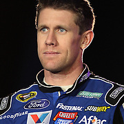 NASCAR Sprint Cup driver Carl Edwards is seen during the driver introductions prior to the NASCAR Sprint Unlimited Race at Daytona International Speedway on Saturday, February 16, 2013 in Daytona Beach, Florida.  (AP Photo/Alex Menendez)