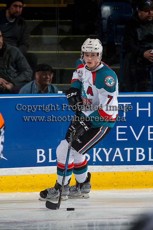 KELOWNA, CANADA - MARCH 1: Lucas Johansen #7 of the Kelowna Rockets skates with the puck against the Prince George Cougars on MARCH 1, 2017 at Prospera Place in Kelowna, British Columbia, Canada.  (Photo by Marissa Baecker/Shoot the Breeze)  *** Local Caption ***