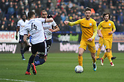 Preston North End Defender, Tommy Spurr (17) and Bolton Wanderers Defender, Dorian Dervite (4) during the EFL Sky Bet Championship match between Bolton Wanderers and Preston North End at the Macron Stadium, Bolton, England on 3 March 2018. Picture by Mark Pollitt.