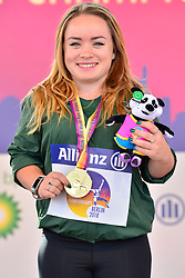 Niamh McCarthy, IRE receives her Gold Medal in the F41 Discus at the Berlin 2018 World Para Athletics European Championships