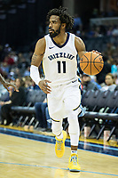 MEMPHIS, TN - OCTOBER 30:  Mike Conley #11 of the Memphis Grizzlies with the ball during a game against the Charlotte Hornets at the FedEx Forum on October 30, 2017 in Memphis, Tennessee.  NOTE TO USER: User expressly acknowledges and agrees that, by downloading and or using this photograph, User is consenting to the terms and conditions of the Getty Images License Agreement.  The Hornets defeated the Grizzlies 104-99.  (Photo by Wesley Hitt/Getty Images) *** Local Caption *** Mike Conley