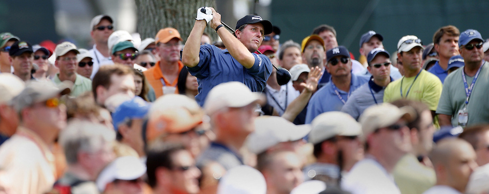Phil Mickelson of the US tees off on the fourth hole during the third day of the US Open Golf Championship at Winged Foot Golf Club in Mamaroneck, New York Saturday, 17 June 2006. .