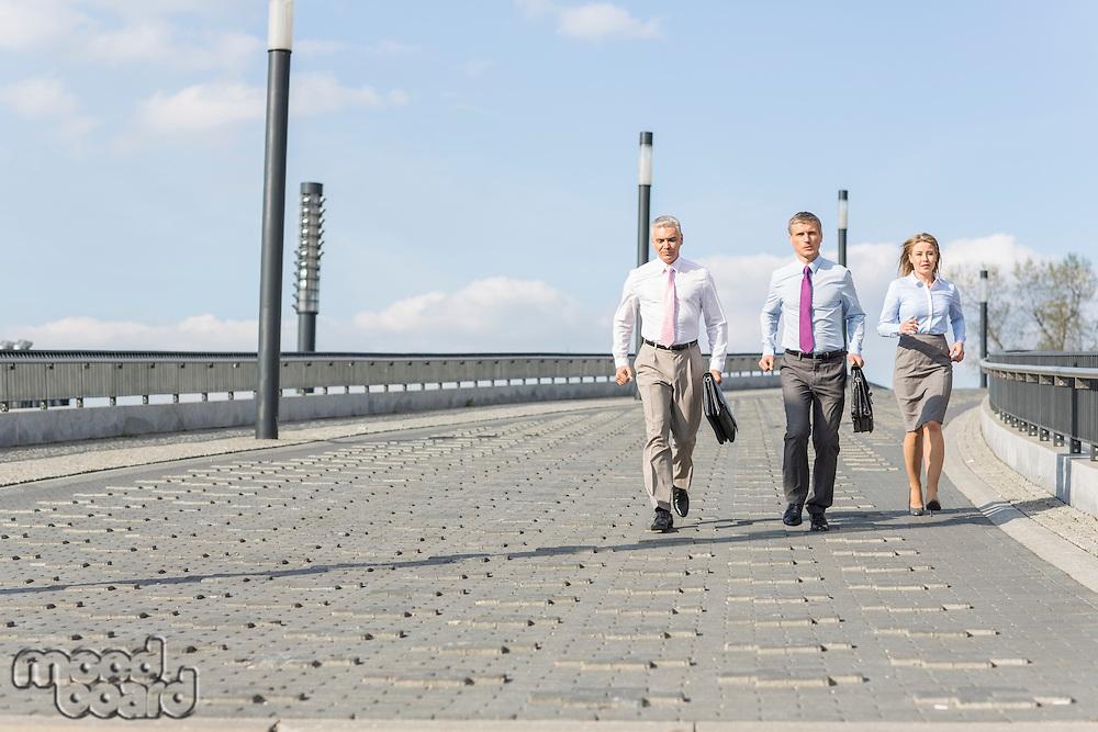 Rear view of businesspeople walking on bridge