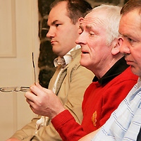 Bridge Utd.'s Michael Whyte puts a question to the top table at the Clare Soccer League AGM in the Clare Inn on Thursday evening,.<br /><br /><br /><br />Photograph by Yvonne Vaughan.