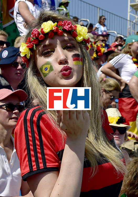 A Germany fan blows a kiss during the men's quarterfinal field hockey Argentina vs Germany match of the Rio 2016 Olympics Games at the Olympic Hockey Centre in Rio de Janeiro on August 16, 2016.  / AFP / CARL DE SOUZA        (Photo credit should read CARL DE SOUZA/AFP/Getty Images)