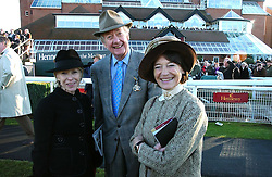 Left to right, GILLY MACKWOOD and VISCOUNT & VISCOUNTESS MARCHWOOD at the 50th running of the Hennessy Gold Cup at Newbury Racecourse, Berkshire on 25th November 2006.<br />