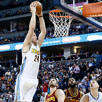 22 March 2017: Denver Nuggets center Mason Plumlee (24) goes for the dunk during the Denver Nuggets 126-113 victory over the Cleveland Cavaliers, at the Pepsi Center, Denver, Colorado, USA.