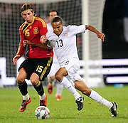 Sergio Ramos and Ricardo Clark  during the Semi Final soccer match of the 2009 Confederations Cup between Spain and the USA played at the Freestate Stadium,Bloemfontein,South Africa on 24 June 2009.  Photo: Gerhard Steenkamp/Superimage Media.