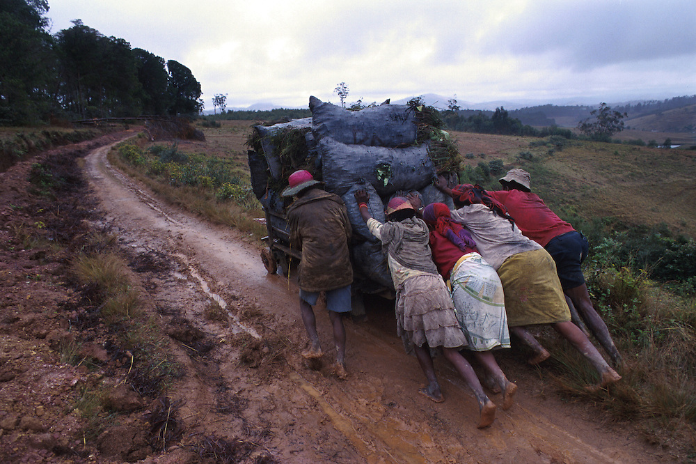 A poor community collecting charcoal, for cooking fuel and warmth, in Fianarantsua's central highlands.