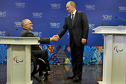 Meeting the IPC Governing Board in the Presidential Suite at the Opening Ceremony of the 2014 Sochi Winter Paralympic Games, Sochi, Russia