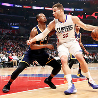 25 March 2016: LA Clippers forward Blake Griffin (32) posts up LA Clippers forward Blake Griffin (32) during the Los Angeles Clippers 108-95 victory over the Utah Jazz, at the Staples Center, Los Angeles, California, USA.