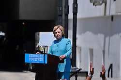 Presumptive Democratic nominee HILLARY CLINTON  makes a July 7th, 2016 campaign stop, in front of the closed Trump Plaza casino, on the Boardwalk of Atlantic City, New Jersey.