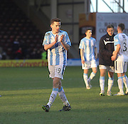 Paul McGinn applauds the Dundee fans at the end  - Motherwell v Dundee, SPFL Premiership at Fir Park<br /> <br />  - &copy; David Young - www.davidyoungphoto.co.uk - email: davidyoungphoto@gmail.com