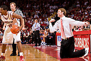 FAYETTEVILLE, AR - FEBRUARY 2:   John Pelphrey of the Arkansas Razorbacks yells at his players from his knees during a game against the Florida Gators at Bud Walton Arena on February 2, 2008 in Fayetteville, Arkansas.  The Razorbacks defeated the Gators 80-61.  (Photo by Wesley Hitt/Getty Images) *** Local Caption *** John Pelphrey