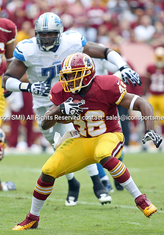 September 22, 2013: Washington Redskins Running Back Alfred Morris (46) in action during a regular season match between the Detroit Lions and the Washington Redskins at FedEx Field in Landover, Maryland.