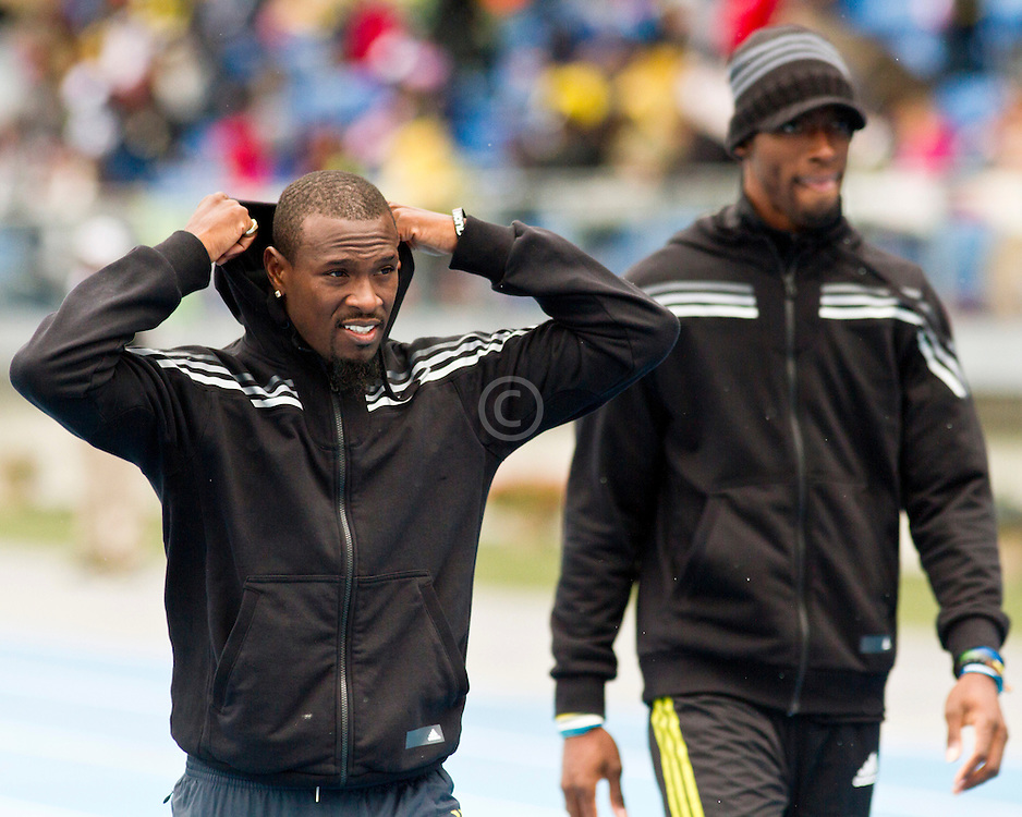 adidas Grand Prix Diamond League professional track & field meet: mens 100 meter warmup